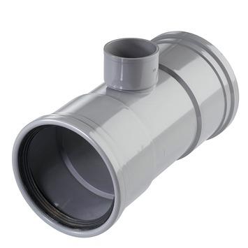 Martens T-stuk 90° PVC grijs 2x schuifmof 1x lijmverbinding 110x50x110 mm