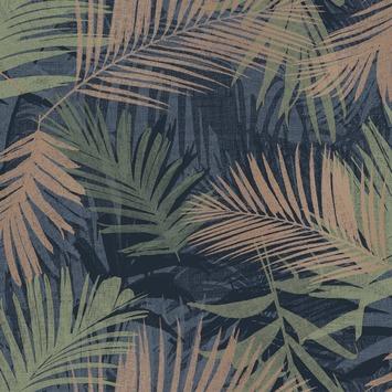 Vliesbehang jungle glam blauw-groen (dessin 104264)