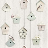 Vinylbehang vogelhuisjes pastel (dessin 101283)