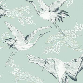 Vliesbehang kraanvogels mint (dessin 106974)
