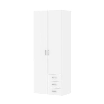 Garderobekast Ivet 2-deurs wit/hout nerf