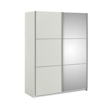 Garderobekast Janneke 152 cm wit/hout nerf + spiegel