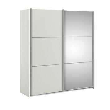 Garderobekast Janneke 180 cm wit/hout nerf + spiegel