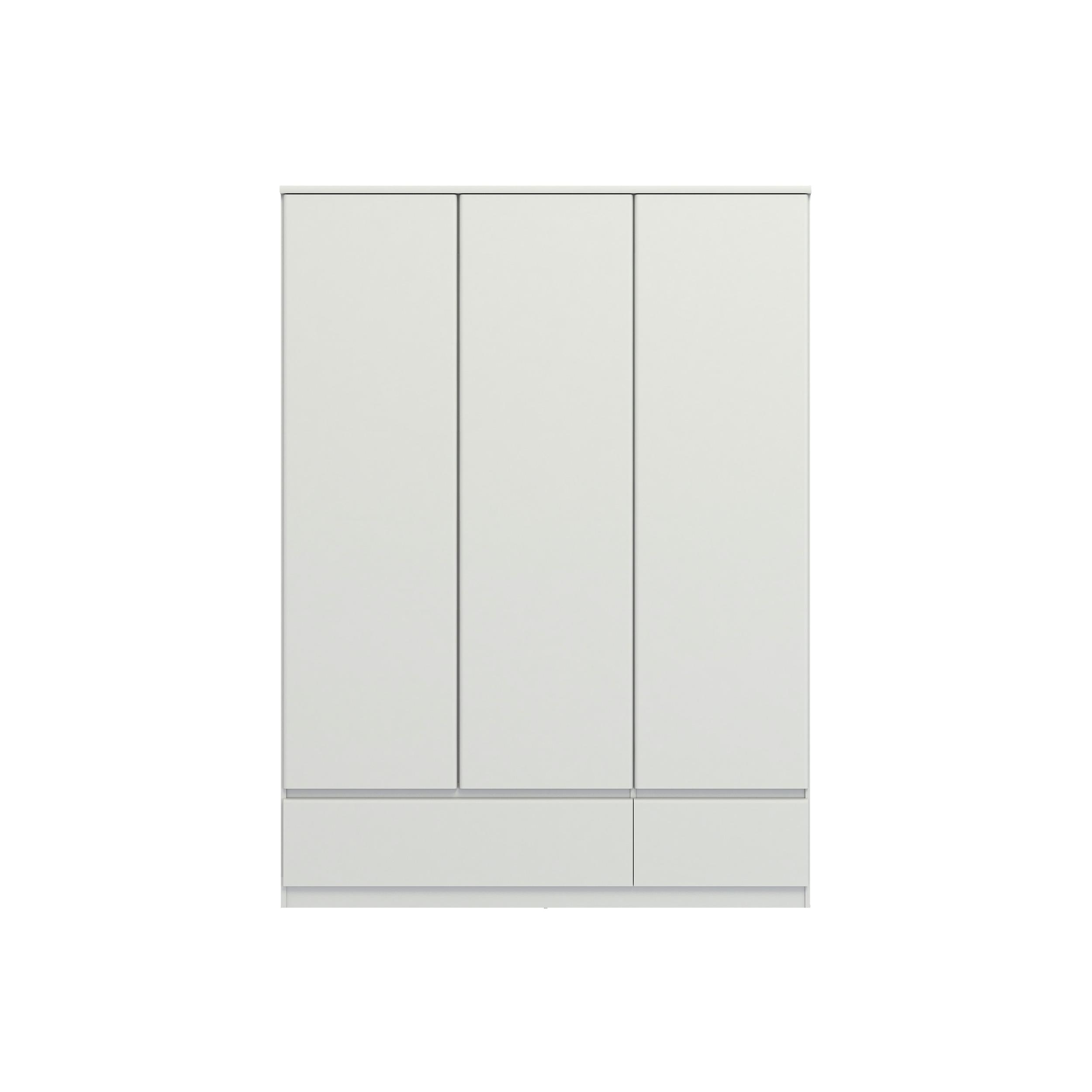 Kledingkast Naia 3-deurs hoogglans wit 200,6x147,4x50 cm