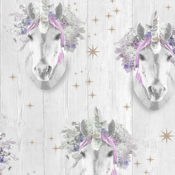 Papierbehang eenhoorn roze (dessin 105977)