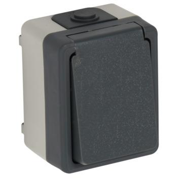 Plieger stopcontact geaard grijs/zwart IP54