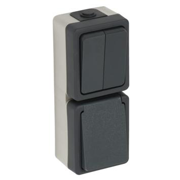Plieger opbouw combinatie stopcontact/serie schakelaar spatwaterdicht