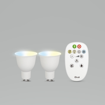 iDual White GU10 330 lumen 2 stuks incl. afstandsbediening