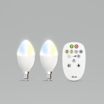 iDual White kaars E14 400 lumen 2 stuks incl. afstandbediening