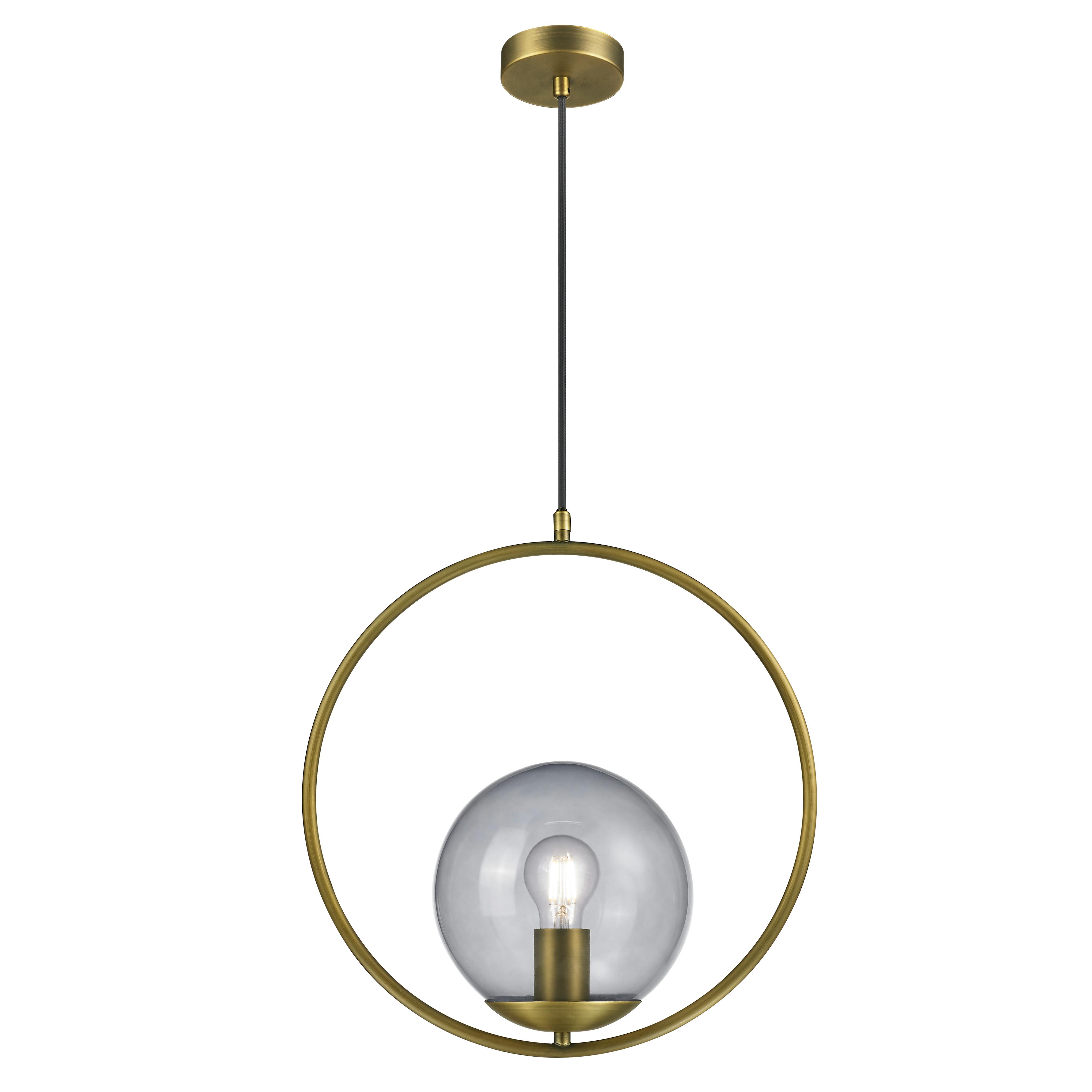 KARWEI hanglamp Lorin messing rookglas