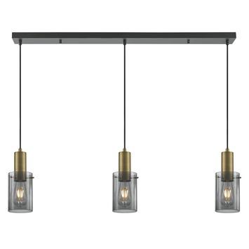 KARWEI hanglamp Nordin 3-lichts messing rookglas
