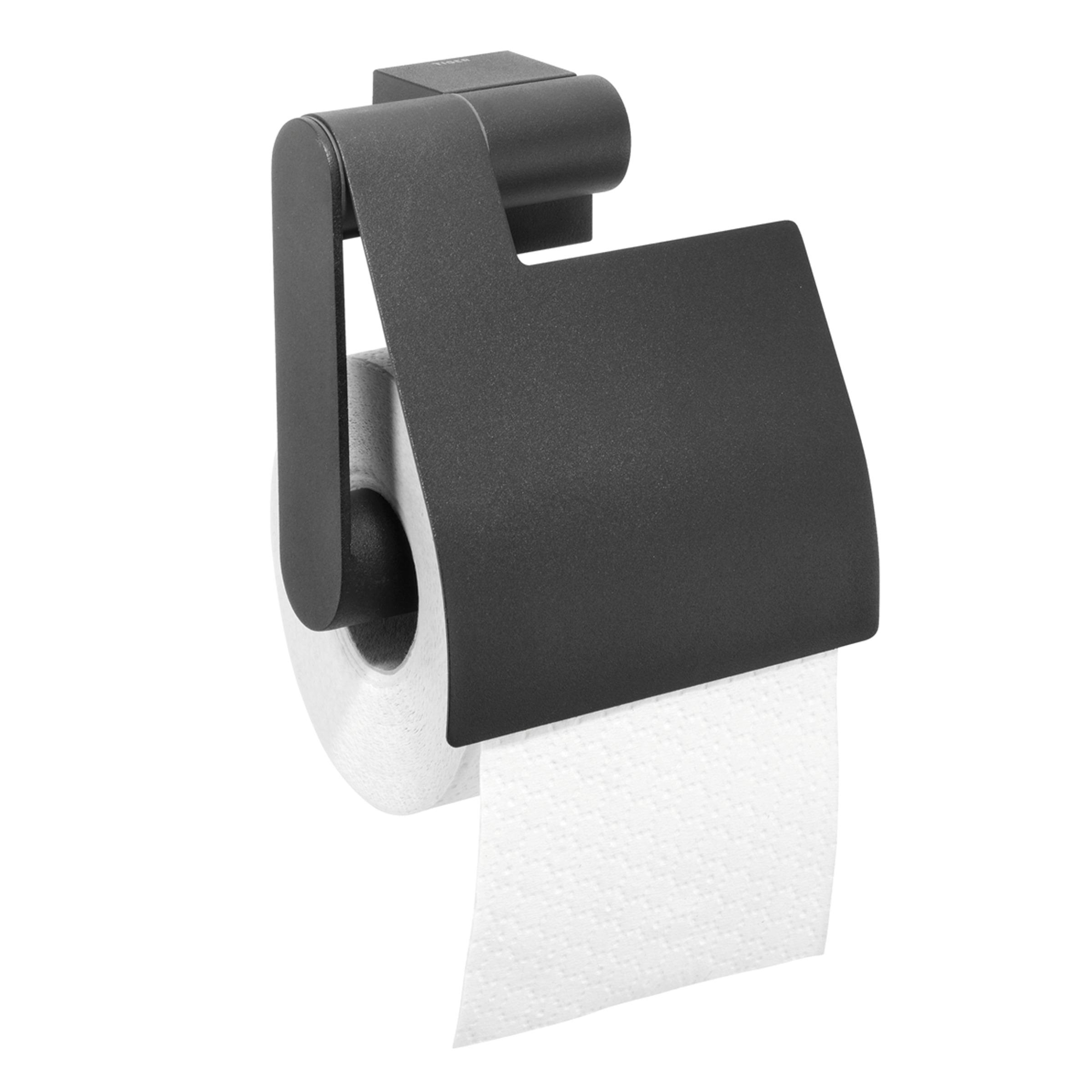 Tiger Nomad toiletrolhouder met klep 12.5x13.4x5.6cm Metaal Zwart