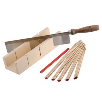 suki verstekbak met toffelzaag, duimstok en potlood