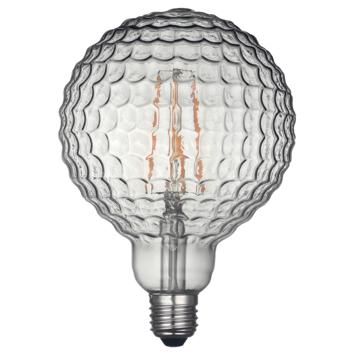 KARWEI LED-filament globe 130mm smokey geribbeld glas