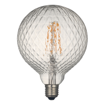 KARWEI LED- filament globe 130mm helder geribbeld glas