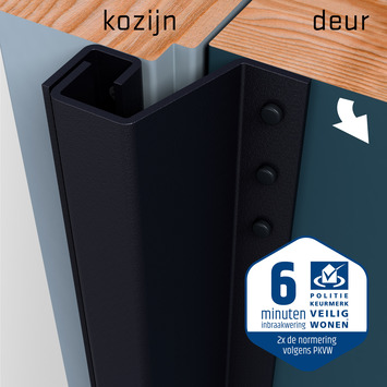 SecuStrip Plus Anti-Inbraakstrip Achterdeur RAL 7021 (Zwart Grijs) terugligging 0-6 mm 230 cm