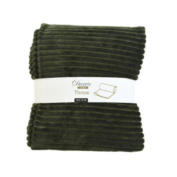 Sprei flanel streep 130x170 groen