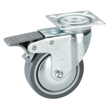 Zwenkwiel TPE met rem en plaatbevestiging Ø 100 mm max. 55 kg