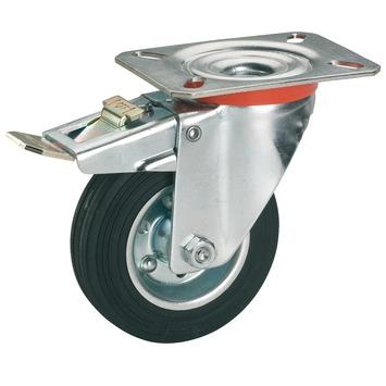 Zwenkwiel Rubber met rem en plaatbevestiging Ø 125 mm max. 100 kg