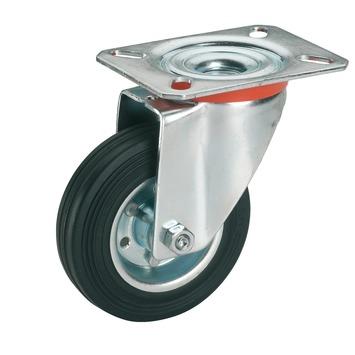 Zwenkwiel Rubber met plaatbevestiging Ø 100 mm max. 70 kg