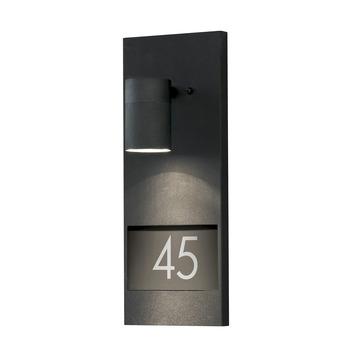 Konstsmide buitenlamp Modena mat zwart met huisnummer