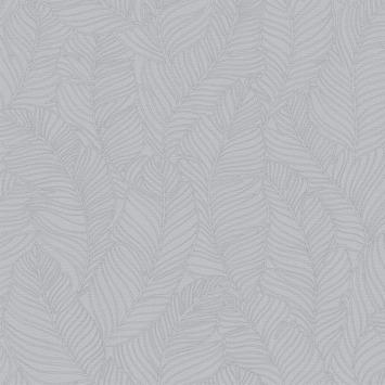 Vliesbehang blad all over grijs (dessin 107001)