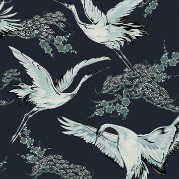 Vliesbehang kraanvogels donker (dessin 107002)