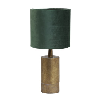 Tafellamp JENSEN Ø20x34 cm antiek brons + groen velours
