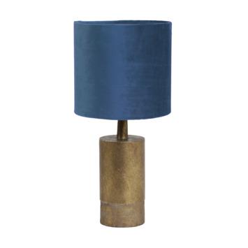 Tafellamp JENSEN  Ø20x34 cm antiek brons + blauw velours