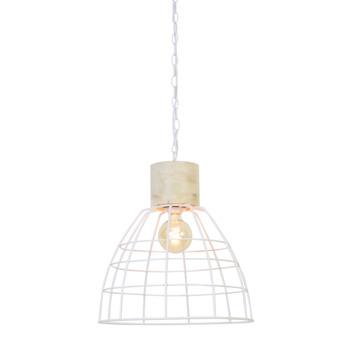 Hanglamp Mink wit met houten kop