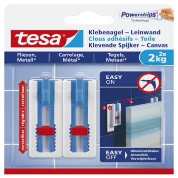 Tesa klevende spijker canvas voor tegels en metaal verstelbaar wit 2 kg 2 stuks