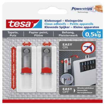 Tesa klevende spijker kleine apparaten voor behang en pleisterwerk verstelbaar wit 0,5 kg 2 stuks