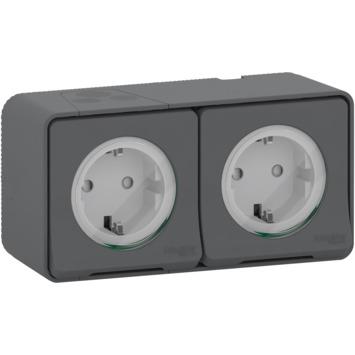 Schneider Electric Mureva Styl wandcontactdoos 2-voudig horizontaal IP55 antraciet