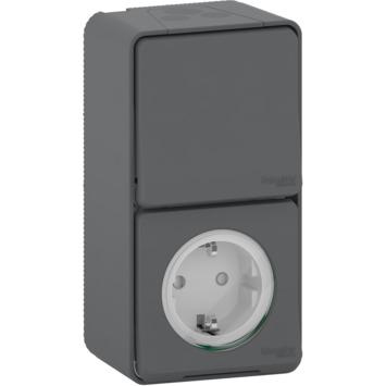 Schneider Electric Mureva Styl combinatie wandcontactdoos/wisselschakelaar IP55 antraciet