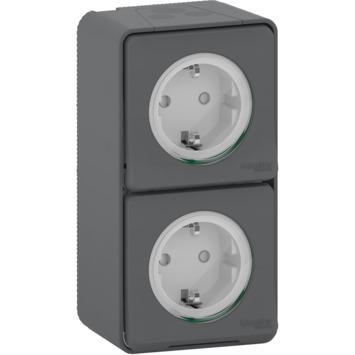Schneider Electric Mureva Styl wandcontactdoos 2-voudig verticaal IP55 antraciet