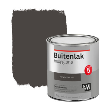 Karwei buitenlak hoogglans 750 ml zwartgrijs
