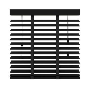KARWEI horizontale houten jaloezie 50 mm mat zwart (947) 80 x 130 cm