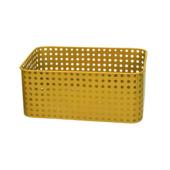 Metalen mand geel 24x16,5x11cm