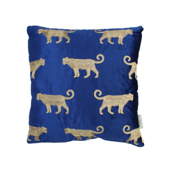 Kussen luipaard velvet blauw