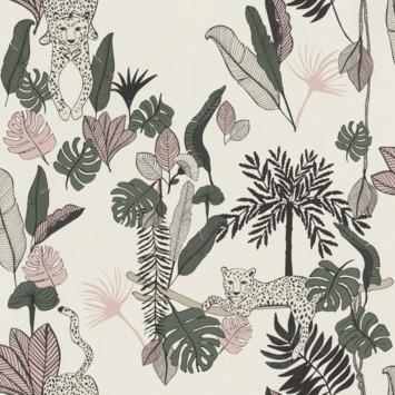 Claas vliesbehang luipaard wit/roze (dessin 540338)