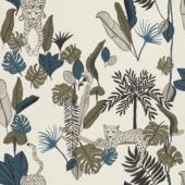 Claas vliesbehang luipaard wit/blauw (dessin 540345)