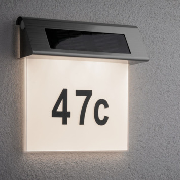 Paulmann solar huisnummerlamp 0,2W wit staal/acryl