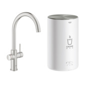 Grohe Red Compact keukenkraan met C-uitloop en 4 liter kokend water boiler Supersteel