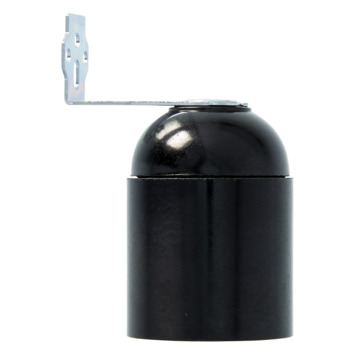 HANDSON lampfitting E27 haakse beugel zwart