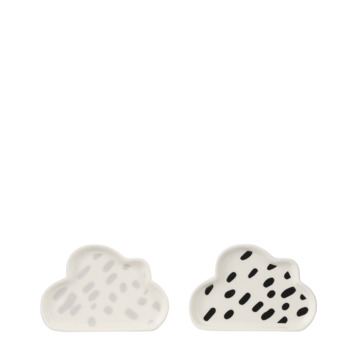 Bord wolk wit/ zwart asorti 13 x 8,5 cm
