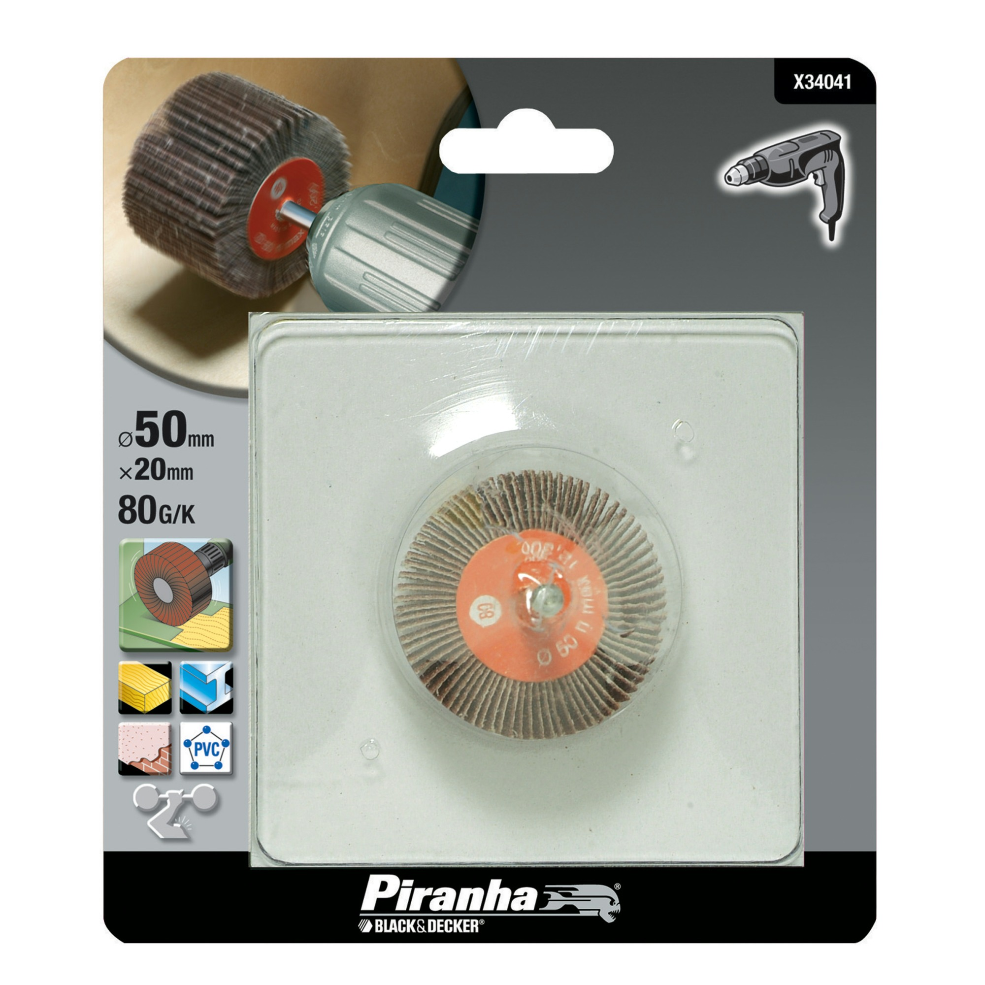 Piranha lamelschuurwiel X34041 K80 20 mm