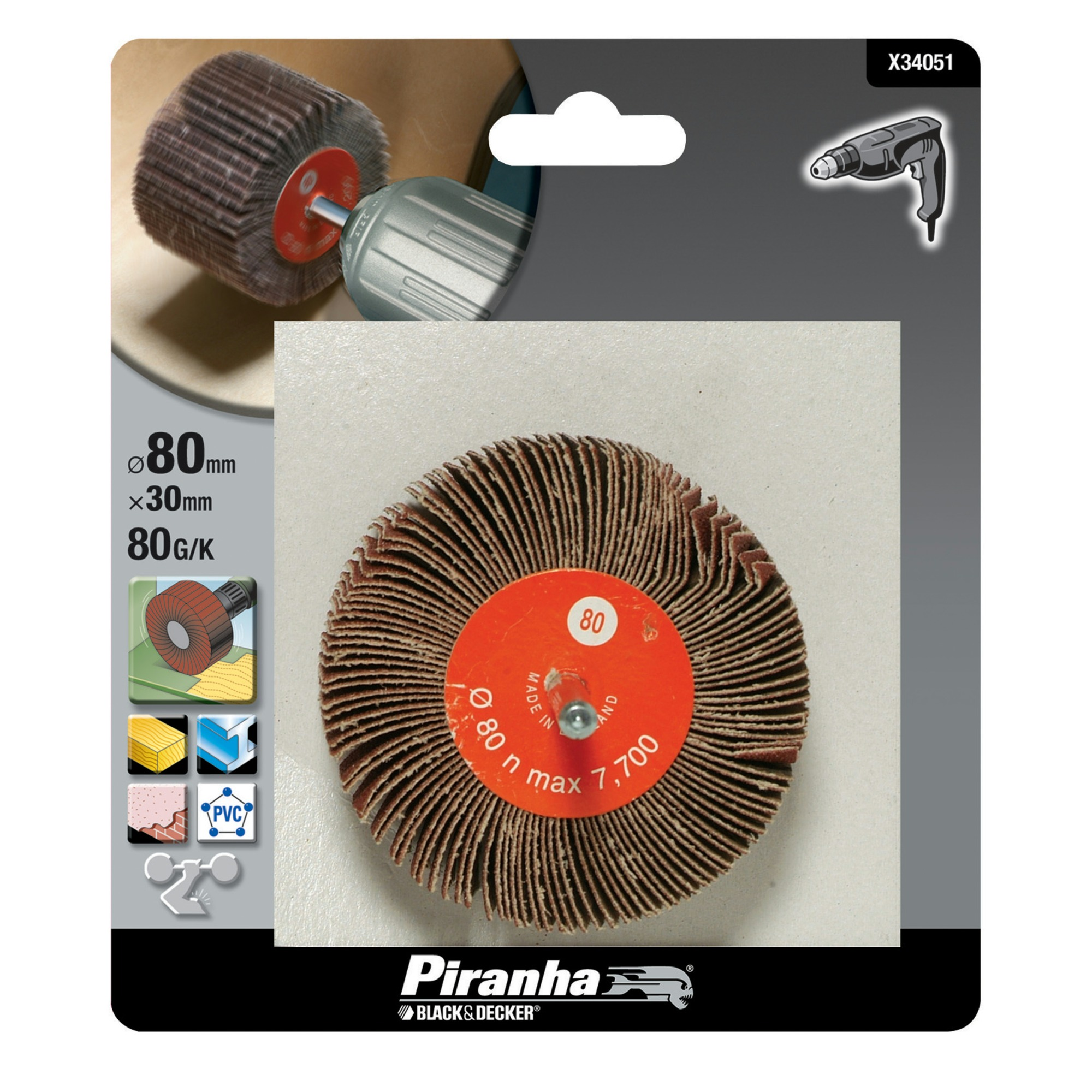 Piranha lamelschuurwiel X34051 K80 80 mm