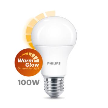 Philips LED E27 lamp Warm glow dim 100W
