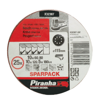 Piranha schuurschijf X32387 K80/120/180 115 mm (set 25 stuks)