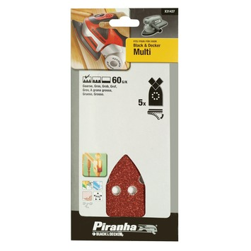 Piranha schuurpapier X31437 K60 (5 stuks) voor B&D Multi schuurmachine